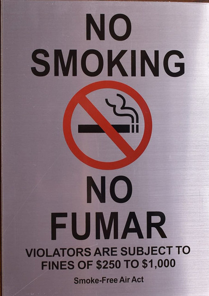 No Smoking English/Spanish Sign Smoke Free Act