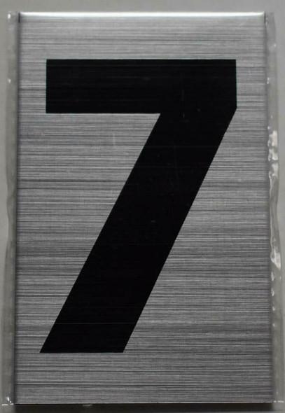 Apartment Number Sign - Seven (7) Brush Aluminium