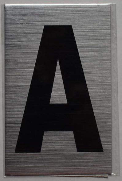 Apartment Number Sign - Letter A Brush Aluminium