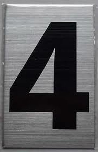 Apartment Number Sign Four (4) (Brush Aluminium