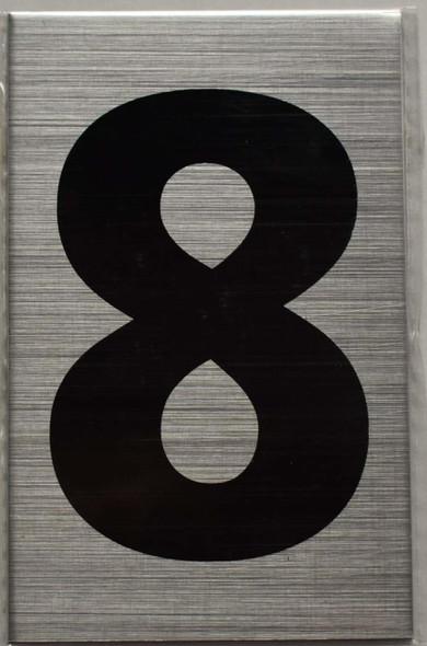 Apartment Number Sign - Eight (8) Brush Aluminium