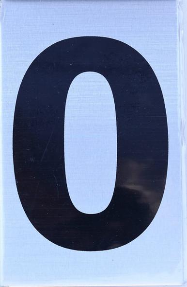Apartment Number Sign - Zero (0) Brush Aluminium