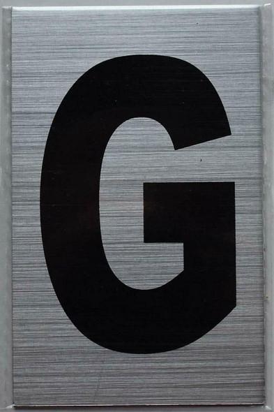 Apartment Number Sign - Letter G Brush Aluminium