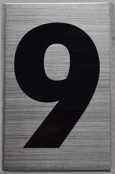 Apartment Number Sign - Nine (9) Brush Aluminium