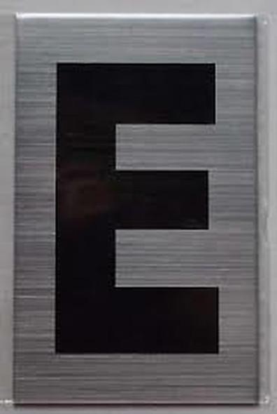 Apartment Number Sign - Letter E Brush Aluminium