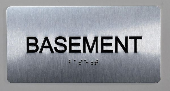 Basement Floor Number Sign Silver-Tactile Touch Braille Sign