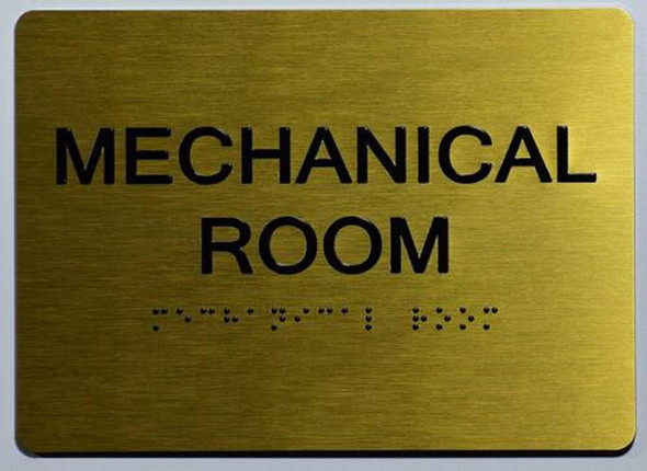 ada gold Mechanical Room Sign