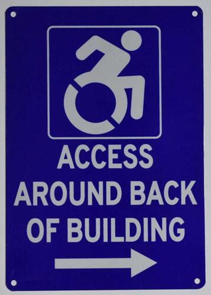ACCESSIBLE Entrance Around Back of Building Left Arrow Sign-The Pour Tous Blue LINE