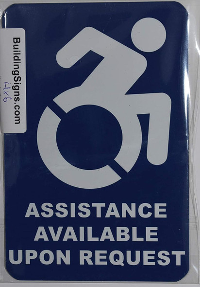 Assistance Available Upon Request Sign -The Pour Tous Blue LINE