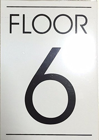 white FLOOR NUMBER SIGN  - 6TH FLOOR SIGN
