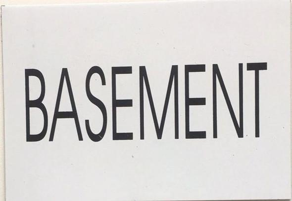 BASEMENT SIGN (WHITE, aluminium,5.75x4)