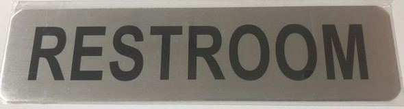 RESTROOM SIGN BRUSHED ALUMINUM