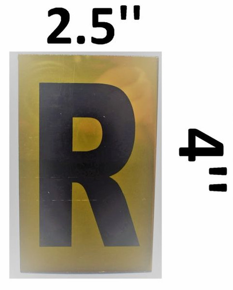 Apartment number sign R – (GOLD ALUMINUM SIGNS 4X2.5)-Ref05-2020