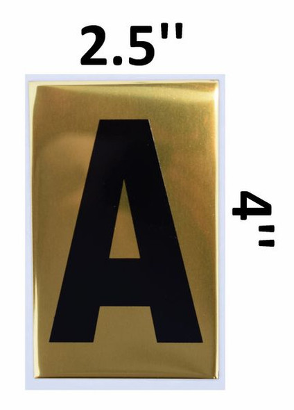 Apartment number sign A – (GOLD, ALUMINUM SIGNS 4X2.5)-Ref05-2020