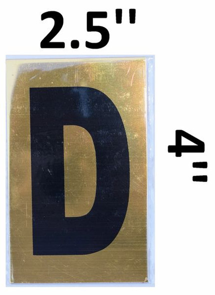 Apartment number sign D – (GOLD, ALUMINUM SIGNS 4X2.5)-Ref05-2020