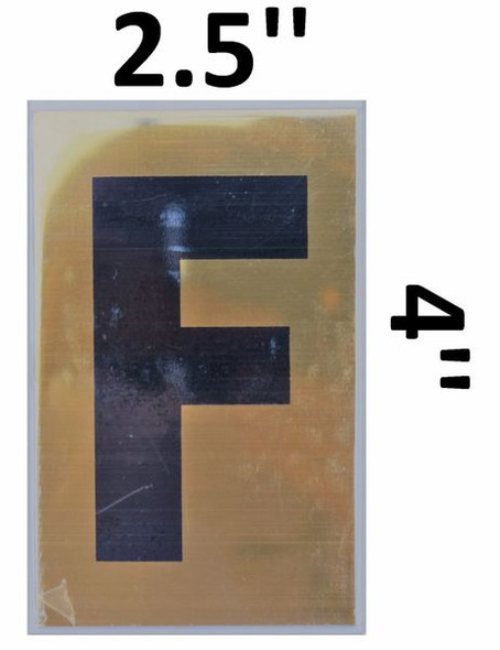 Apartment number sign F – (GOLD, ALUMINUM SIGNS 4X2.5)-Ref05-2020