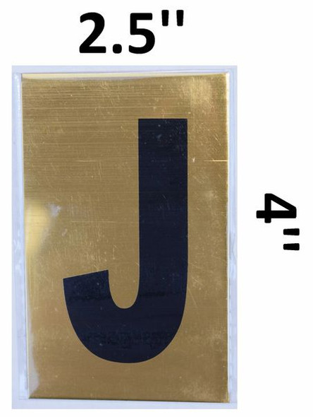 Apartment number sign J– (GOLD, ALUMINUM SIGNS 4X2.5)-Ref05-2020