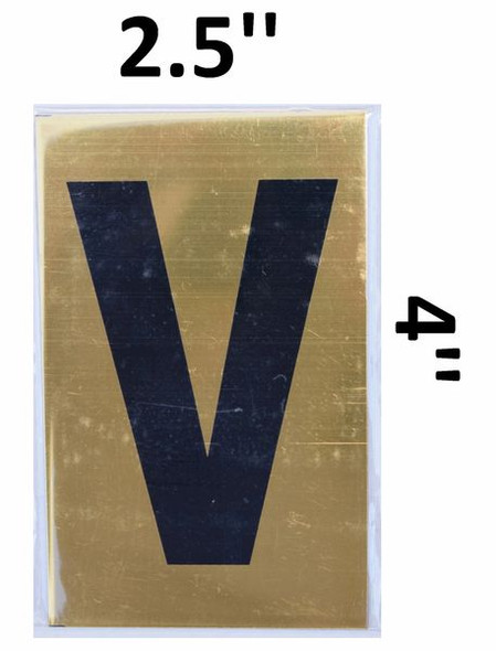 Apartment number sign V– (GOLD, ALUMINUM SIGNS 4X2.5)-Ref05-2020