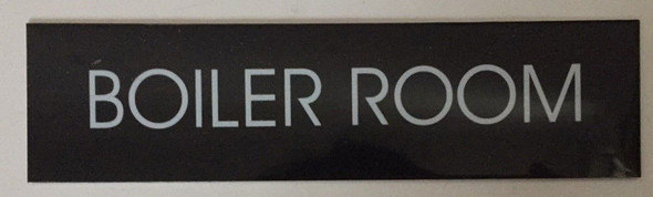Boiler Room Sign (Black Aluminum,Two Sided Tape)