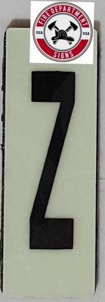 PHOTOLUMINESCENT DOOR NUMBER X SIGN