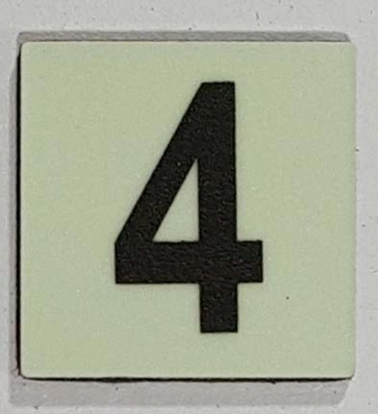 Glow in dark Number 4 sign The Liberty Line (Aluminum SIGNS 1x1, 3 RCNY §505-01)-Ref05-2020