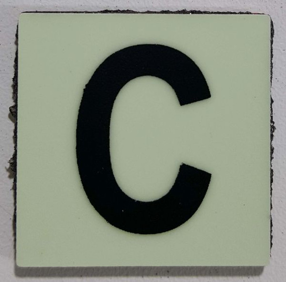 Glow in dark Number C sign The Liberty Line (Aluminum SIGNS 1x1, 3 RCNY §505-01)-Ref05-2020