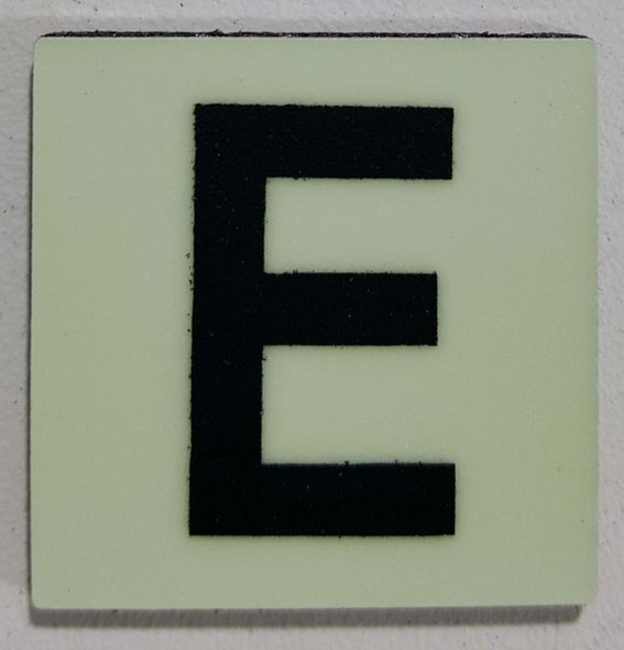 Glow in dark Number E sign The Liberty Line (Aluminum SIGNS 1x1, 3 RCNY §505-01)-Ref05-2020