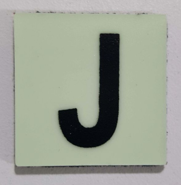 Glow in dark Number J sign The Liberty Line (Aluminum SIGNS 1x1, 3 RCNY §505-01)-Ref05-2020