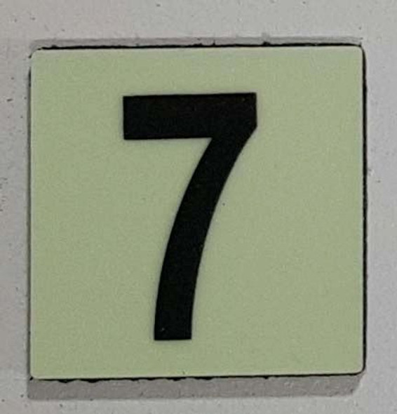 Glow in dark Number 7 sign The Liberty Line (Aluminum SIGNS 1x1, 3 RCNY §505-01)-Ref05-2020
