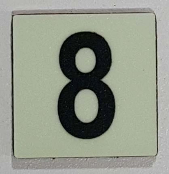 Glow in dark Number 8 sign The Liberty Line (Aluminum SIGNS 1x1, 3 RCNY §505-01)-Ref05-2020