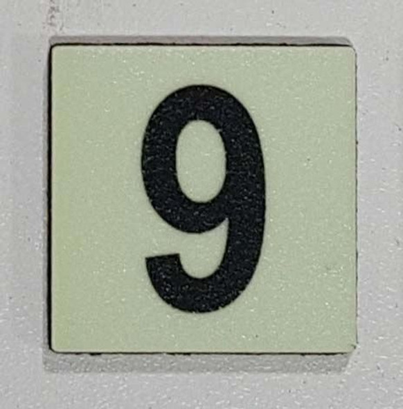 Glow in dark Number 9 sign The Liberty Line (Aluminum SIGNS 1x1, 3 RCNY §505-01)-Ref05-2020