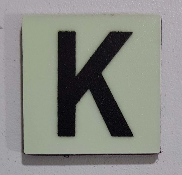 Glow in dark Number K sign The Liberty Line (Aluminum SIGNS 1x1, 3 RCNY §505-01)-Ref05-2020