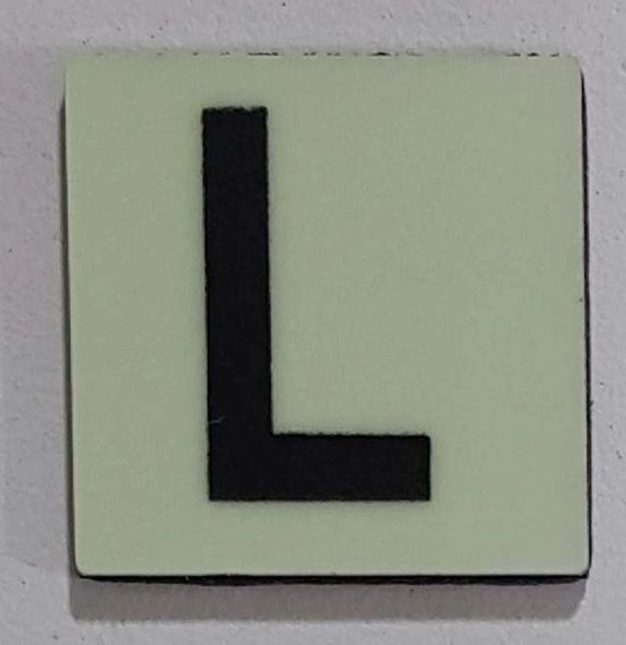 Glow in dark Number L sign The Liberty Line (Aluminum SIGNS 1x1, 3 RCNY §505-01)-Ref05-2020