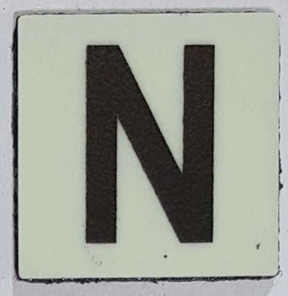 Glow in dark Number N sign The Liberty Line (Aluminum SIGNS 1x1, 3 RCNY §505-01)-Ref05-2020