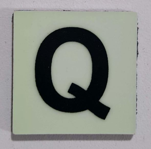 Glow in dark Number Q sign The Liberty Line (Aluminum SIGNS 1x1, 3 RCNY §505-01)-Ref05-2020