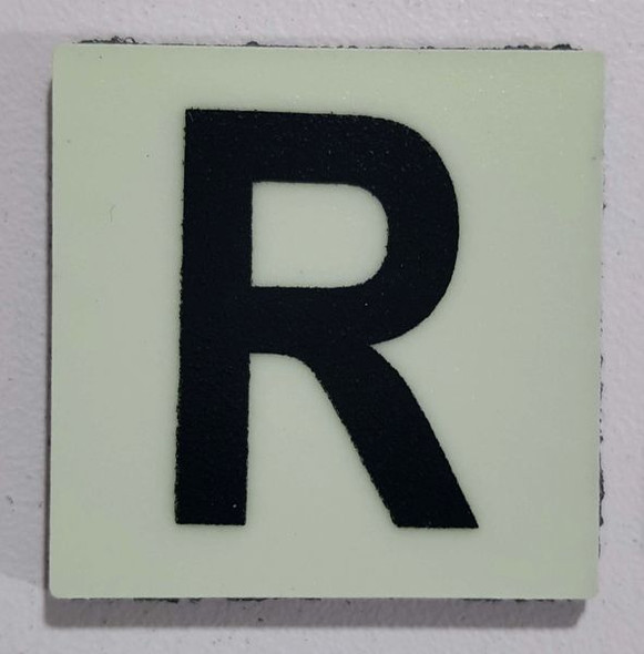 Glow in dark Number R sign The Liberty Line (Aluminum SIGNS 1x1, 3 RCNY §505-01)-Ref05-2020