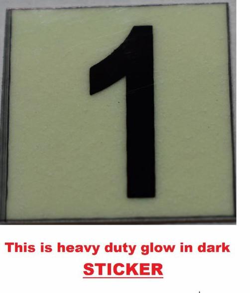 PHOTOLUMINESCENT DOOR NUMBER 1 SIGN