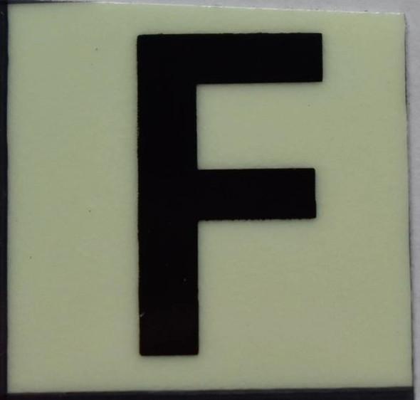 PHOTOLUMINESCENT DOOR NUMBER F SIGN
