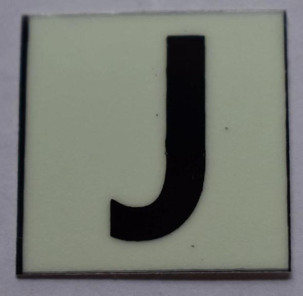 PHOTOLUMINESCENT DOOR NUMBER J SIGN