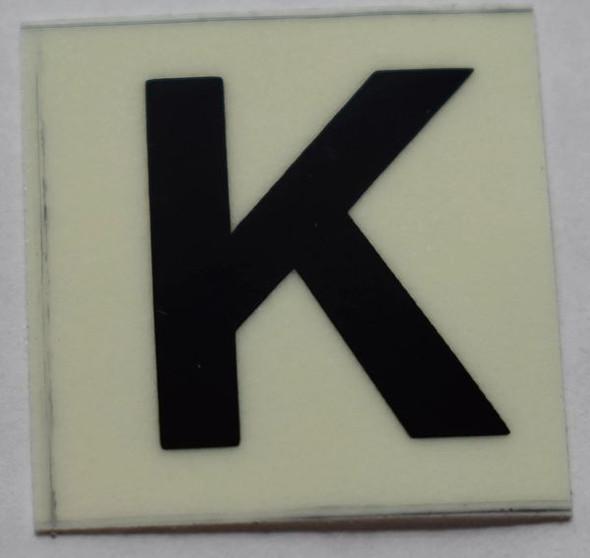 PHOTOLUMINESCENT DOOR NUMBER K SIGN