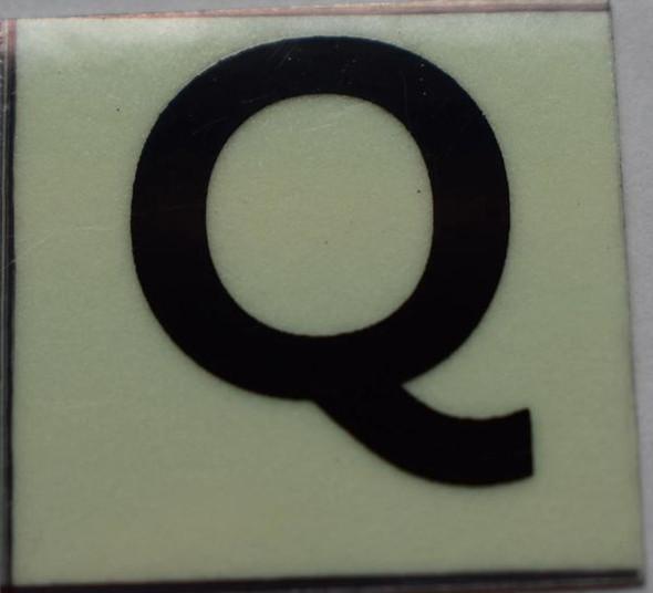PHOTOLUMINESCENT DOOR NUMBER Q SIGN