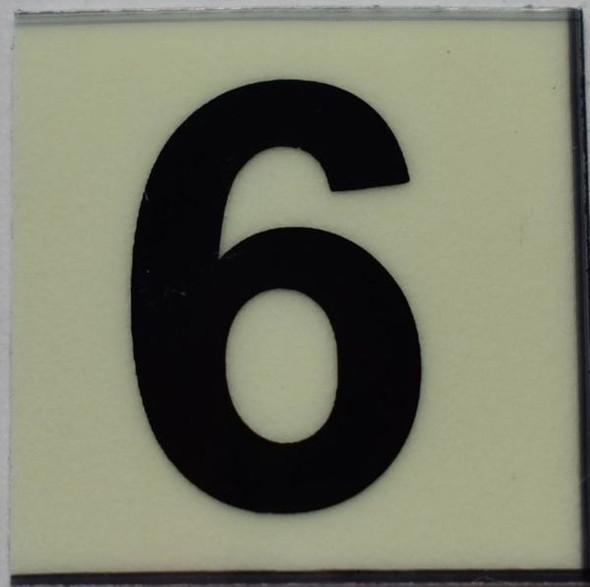 PHOTOLUMINESCENT DOOR NUMBER 6 SIGN