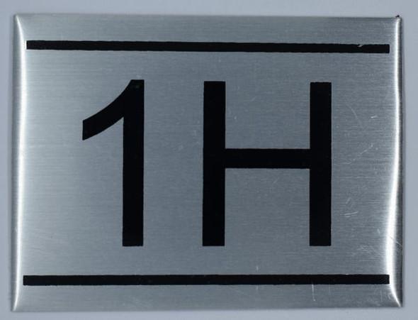 APARTMENT NUMBER SIGN - 1H -BRUSHED ALUMINUM (ALUMINUM SIGNS 2.25X3)