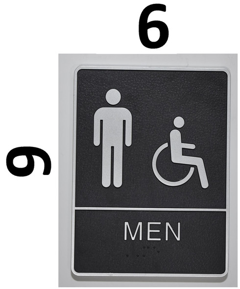 MEN ACCESSIBLE Restroom Sign- BLACK- BRAILLE (PLASTIC ADA SIGNS 9X6)- The Leather Sheffield ADA line