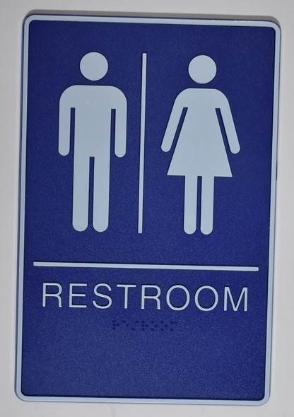 Blue WOMEN Restroom Sign- BLUE- BRAILLE - The deep Blue ADA line