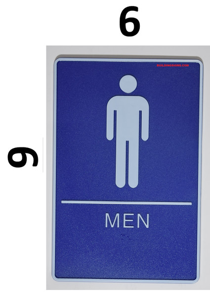 MEN Restroom Sign- BLUE- BRAILLE (PLASTIC ADA SIGNS 9X6)- The deep Blue ADA line
