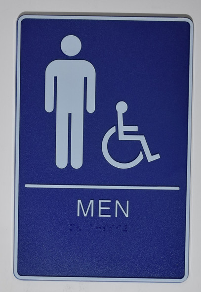 MEN Restroom Sign- BLUE- BRAILLE - The deep Blue ADA line Braille sign