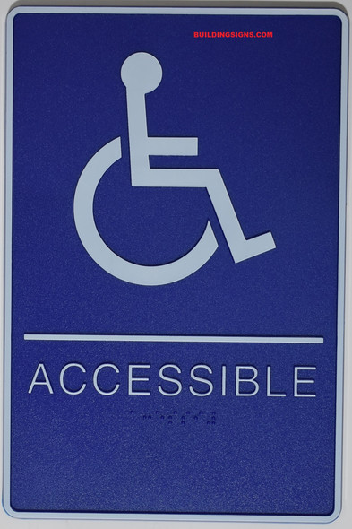 MEN ACCESSIBLE Restroom Sign- BLUE- BRAILLE - The deep Blue ADA line Ada Sign