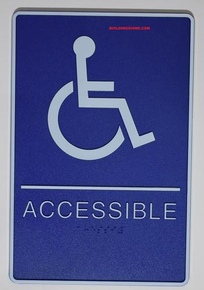 Blue MEN ACCESSIBLE Restroom Sign- BLUE- BRAILLE - The deep Blue ADA line