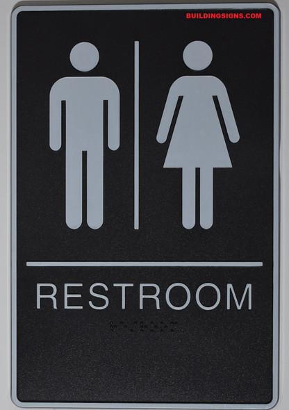 Black WOMEN ACCESSIBLE Restroom Sign- BLACK- BRAILLE - The Standard ADA line